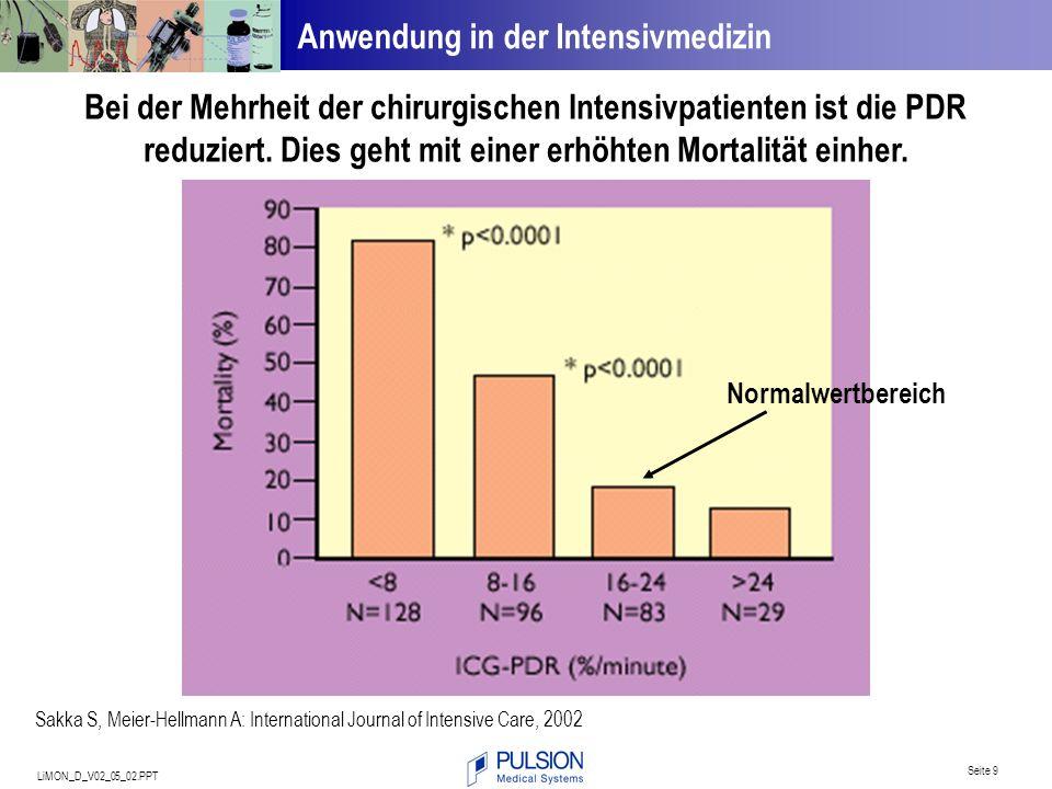 LiMON_D_V02_05_02.PPT Seite 9 Anwendung in der Intensivmedizin Bei der Mehrheit der chirurgischen Intensivpatienten ist die PDR reduziert. Dies geht m