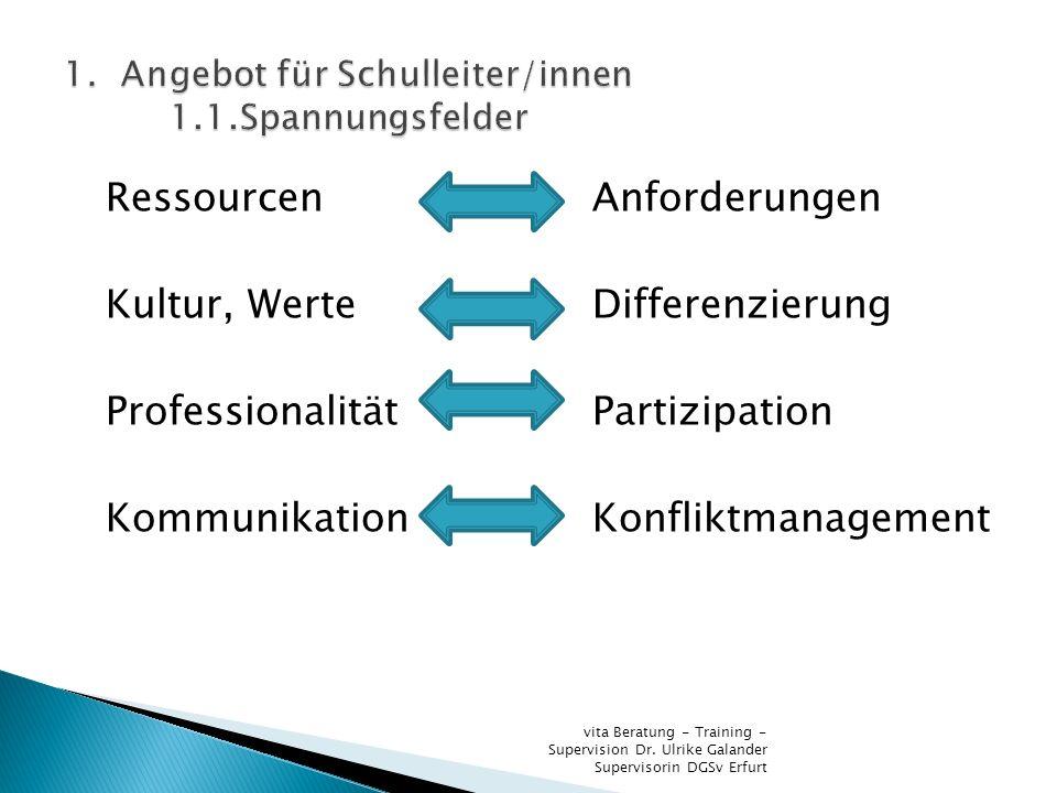 Ressourcen Anforderungen Kultur, WerteDifferenzierung ProfessionalitätPartizipation KommunikationKonfliktmanagement vita Beratung - Training - Supervi
