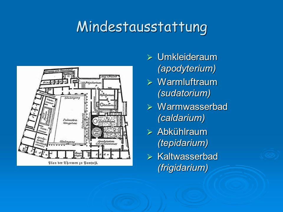 Mindestausstattung Umkleideraum (apodyterium) Umkleideraum (apodyterium) Warmluftraum (sudatorium) Warmluftraum (sudatorium) Warmwasserbad (caldarium)