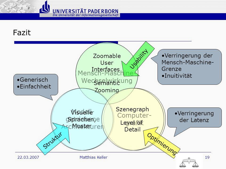 Dr. G. Oevel 22.03.2007Matthias Keller19 Fazit Mensch-Maschine- Wechselwirkung Modell- getriebene Architekturen Computer- grafik Zoomable User Interfa