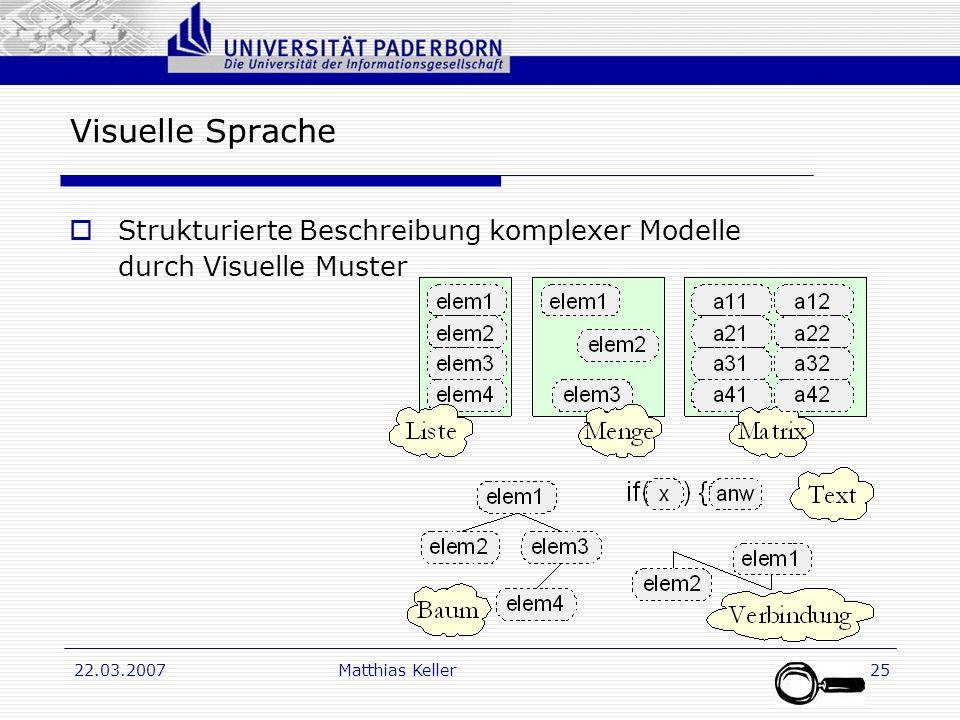 Dr. G. Oevel 22.03.2007Matthias Keller25 Visuelle Sprache Strukturierte Beschreibung komplexer Modelle durch Visuelle Muster