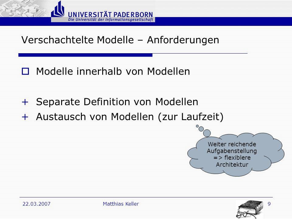Dr. G. Oevel 22.03.2007Matthias Keller9 Verschachtelte Modelle – Anforderungen Modelle innerhalb von Modellen +Separate Definition von Modellen +Austa