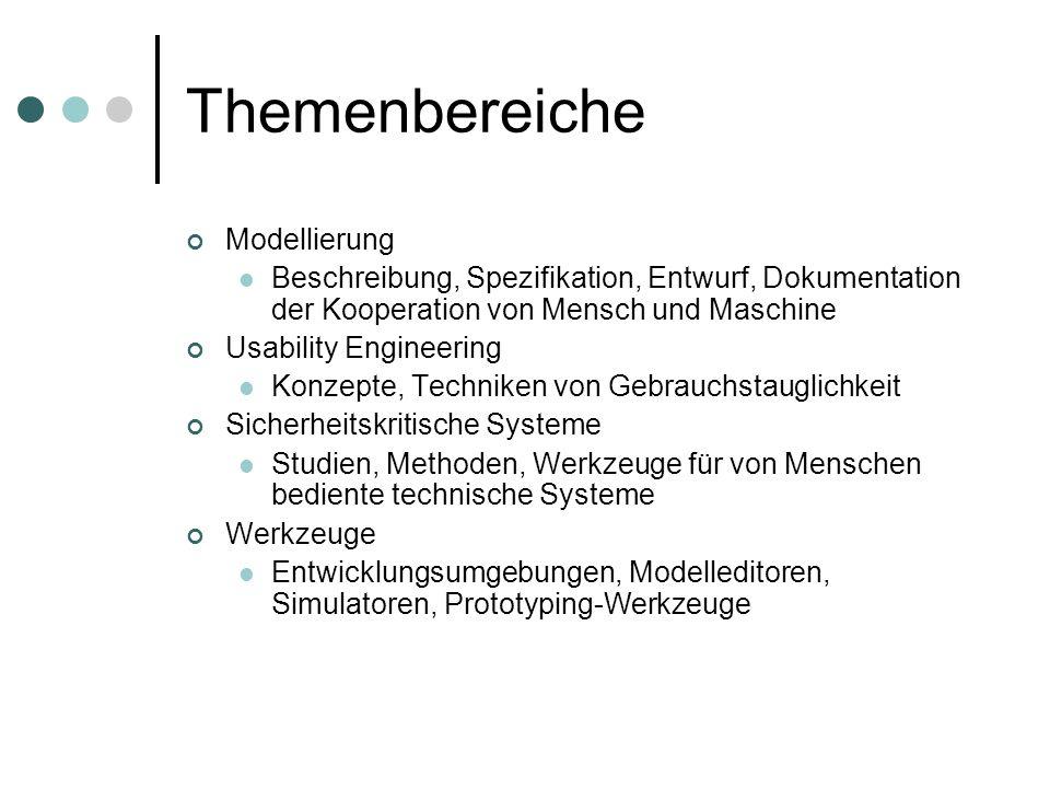 Themenbereiche Modellierung Beschreibung, Spezifikation, Entwurf, Dokumentation der Kooperation von Mensch und Maschine Usability Engineering Konzepte