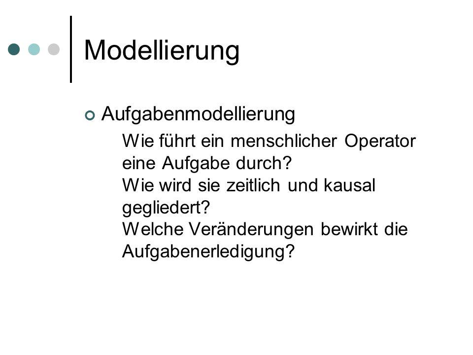 Modellierung Aufgabenmodellierung Wie führt ein menschlicher Operator eine Aufgabe durch? Wie wird sie zeitlich und kausal gegliedert? Welche Veränder