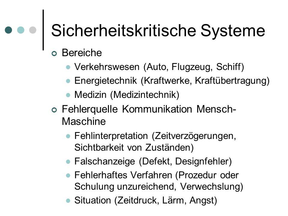 Sicherheitskritische Systeme Bereiche Verkehrswesen (Auto, Flugzeug, Schiff) Energietechnik (Kraftwerke, Kraftübertragung) Medizin (Medizintechnik) Fe
