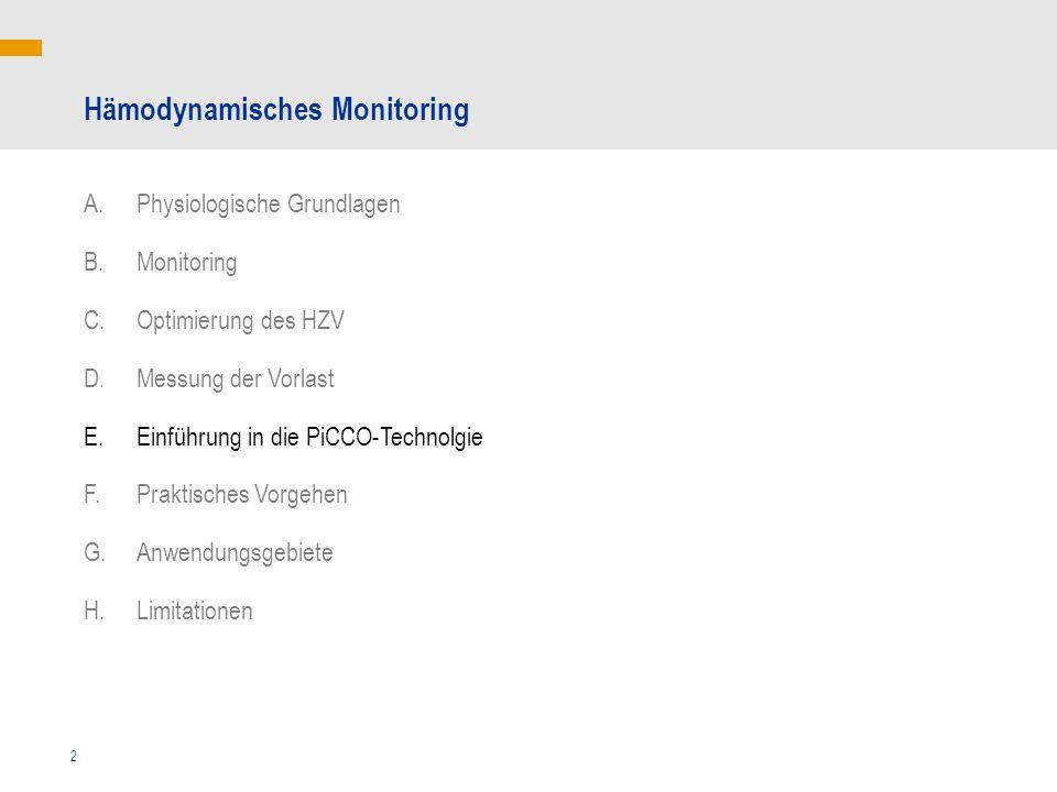 2 Hämodynamisches Monitoring A.Physiologische Grundlagen B.Monitoring C.Optimierung des HZV D.Messung der Vorlast E.Einführung in die PiCCO-Technolgie F.Praktisches Vorgehen G.Anwendungsgebiete H.Limitationen