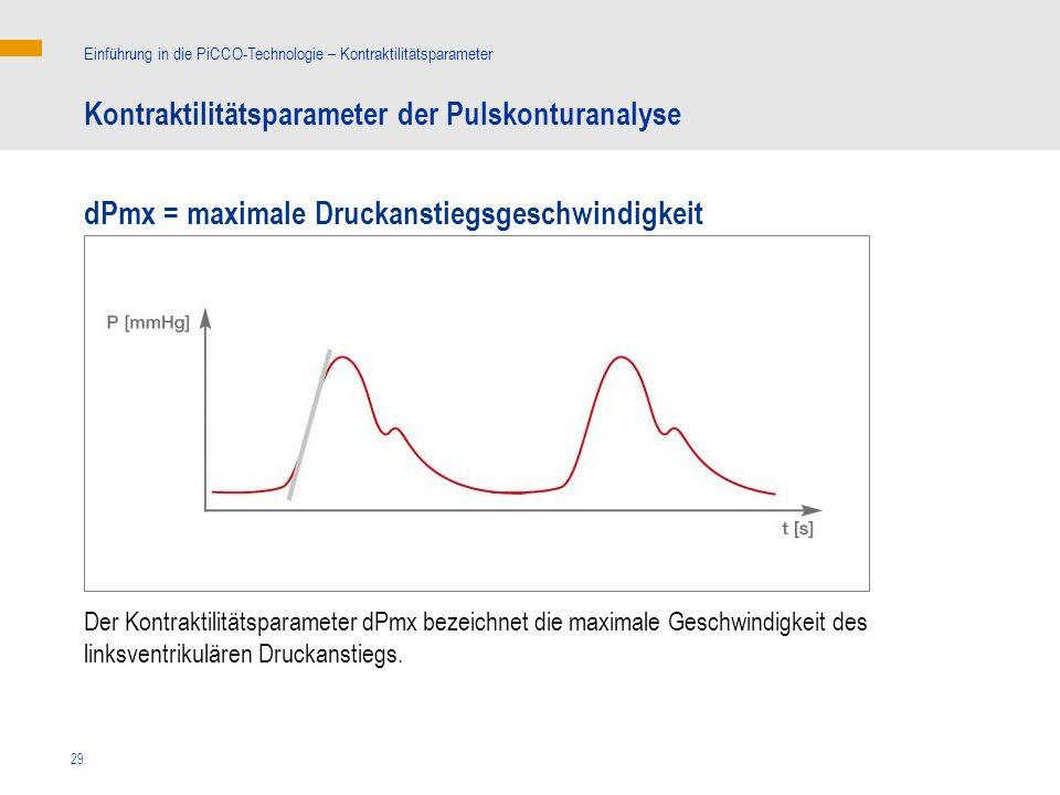29 Kontraktilitätsparameter der Pulskonturanalyse Einführung in die PiCCO-Technologie – Kontraktilitätsparameter dPmx = maximale Druckanstiegsgeschwindigkeit Der Kontraktilitätsparameter dPmx bezeichnet die maximale Geschwindigkeit des linksventrikulären Druckanstiegs.