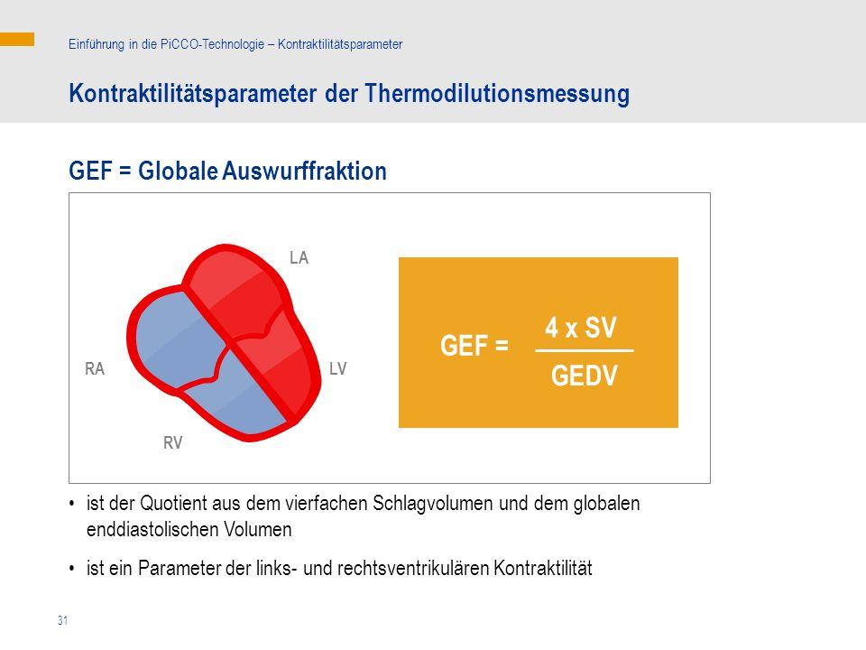 31 ist der Quotient aus dem vierfachen Schlagvolumen und dem globalen enddiastolischen Volumen ist ein Parameter der links- und rechtsventrikulären Kontraktilität GEF = Globale Auswurffraktion Kontraktilitätsparameter der Thermodilutionsmessung Einführung in die PiCCO-Technologie – Kontraktilitätsparameter 4 x SV GEF = GEDV LA LVRA RV