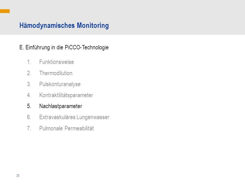 35 Hämodynamisches Monitoring E. Einführung in die PiCCO-Technologie 1.Funktionsweise 2.Thermodilution 3.Pulskonturanalyse 4.Kontraktilitätsparameter