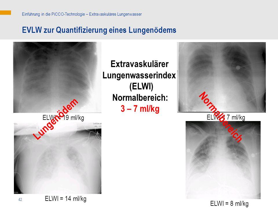 42 EVLW zur Quantifizierung eines Lungenödems Einführung in die PiCCO-Technologie – Extravaskuläres Lungenwasser ELWI = 7 ml/kg ELWI = 8 ml/kg ELWI = 14 ml/kg ELWI = 19 ml/kg Extravaskulärer Lungenwasserindex (ELWI) Normalbereich: 3 – 7 ml/kg Lungenödem Normalbereich
