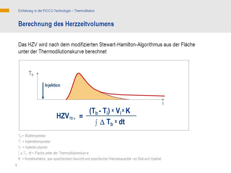 9 T b x dt (T b - T i ) x V i x K TbTb Injektion t = HZV TD a T b = Bluttemperatur T i = Injektattemperatur V i = Injektatvolumen T b. dt = Fläche unt