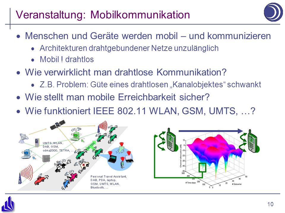 10 Veranstaltung: Mobilkommunikation Menschen und Geräte werden mobil – und kommunizieren Architekturen drahtgebundener Netze unzulänglich Mobil .