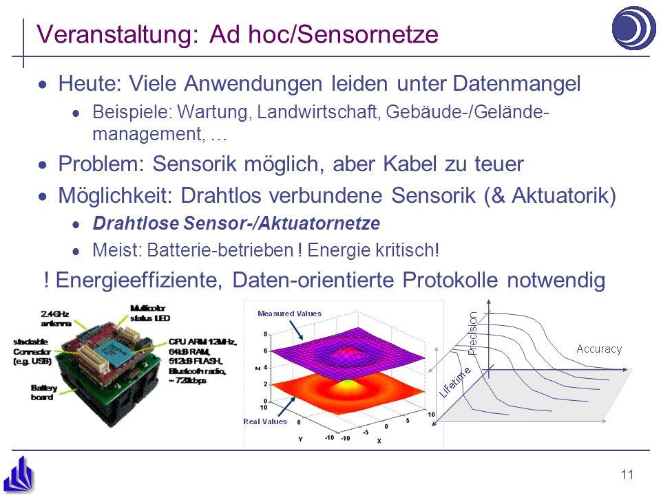 11 Veranstaltung: Ad hoc/Sensornetze Heute: Viele Anwendungen leiden unter Datenmangel Beispiele: Wartung, Landwirtschaft, Gebäude-/Gelände- management, … Problem: Sensorik möglich, aber Kabel zu teuer Möglichkeit: Drahtlos verbundene Sensorik (& Aktuatorik) Drahtlose Sensor-/Aktuatornetze Meist: Batterie-betrieben .