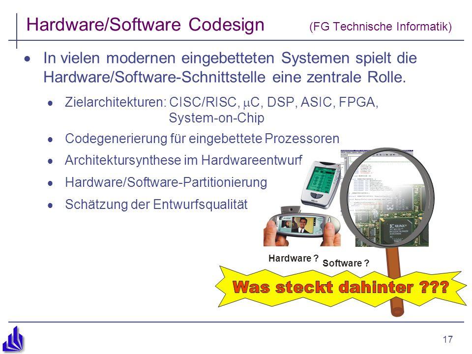 17 Hardware/Software Codesign (FG Technische Informatik) In vielen modernen eingebetteten Systemen spielt die Hardware/Software-Schnittstelle eine zentrale Rolle.