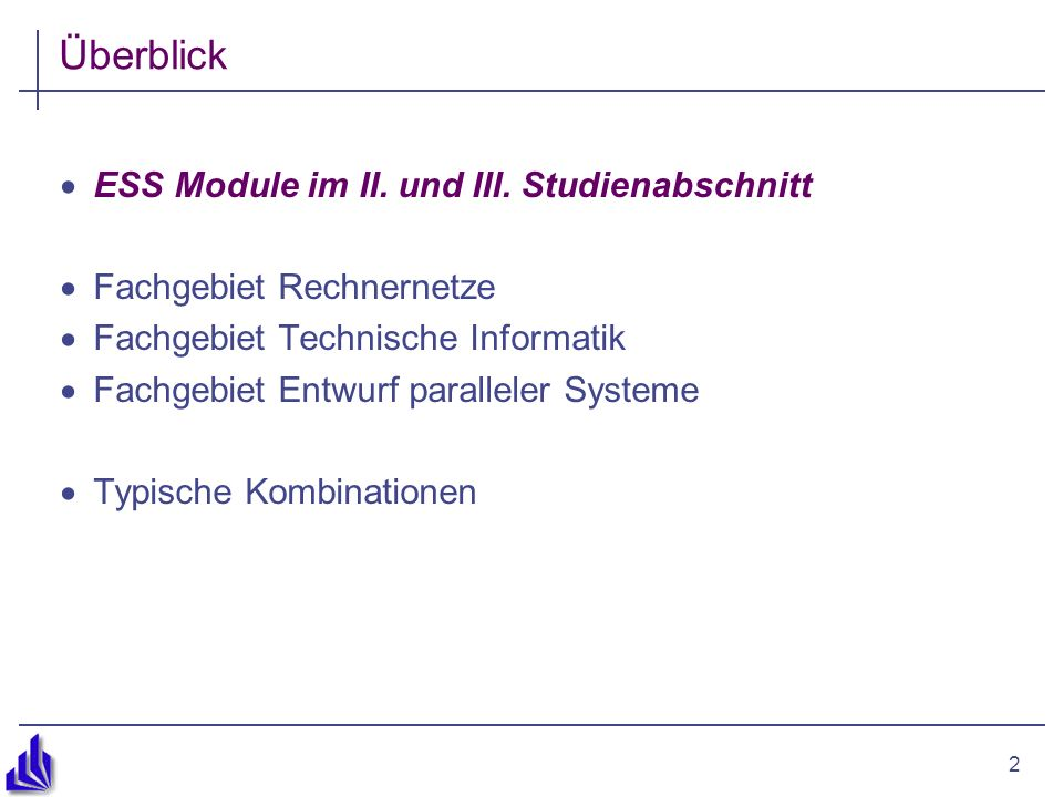 2 Überblick ESS Module im II. und III.