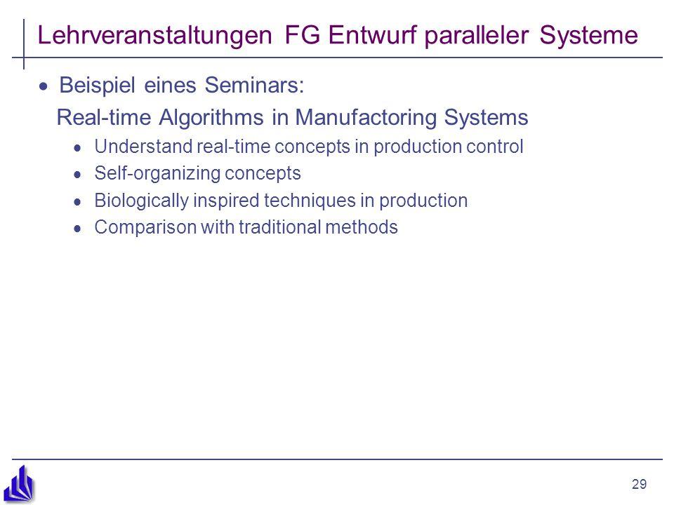 29 Lehrveranstaltungen FG Entwurf paralleler Systeme Beispiel eines Seminars: Real-time Algorithms in Manufactoring Systems Understand real-time conce