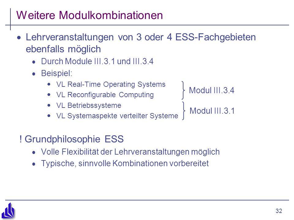 32 Weitere Modulkombinationen Lehrveranstaltungen von 3 oder 4 ESS-Fachgebieten ebenfalls möglich Durch Module III.3.1 und III.3.4 Beispiel: VL Real-Time Operating Systems VL Reconfigurable Computing VL Betriebssysteme VL Systemaspekte verteilter Systeme .