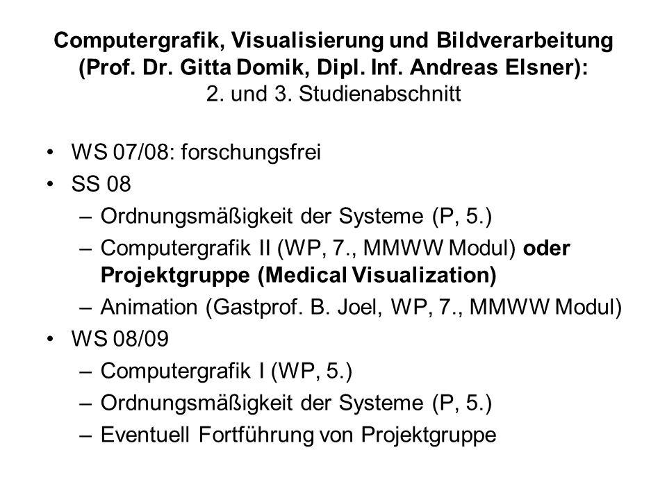 Computergrafik, Visualisierung und Bildverarbeitung (Prof.