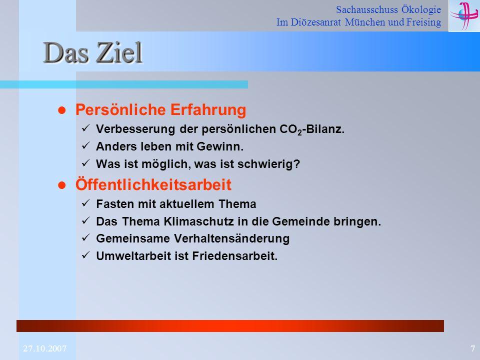 Sachausschuss Ökologie Im Diözesanrat München und Freising 727.10.2007 Das Ziel Persönliche Erfahrung Verbesserung der persönlichen CO 2 -Bilanz. Ande