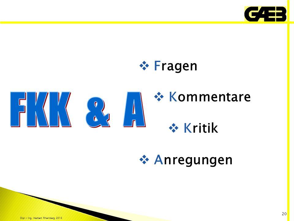 Dipl.- Ing. Herbert Rheinberg 2013 20 Fragen Kommentare Kritik Anregungen