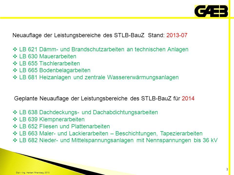 Dipl.- Ing. Herbert Rheinberg 2013 3 Neuauflage der Leistungsbereiche des STLB-BauZ Stand: 2013-07 LB 621 Dämm- und Brandschutzarbeiten an technischen