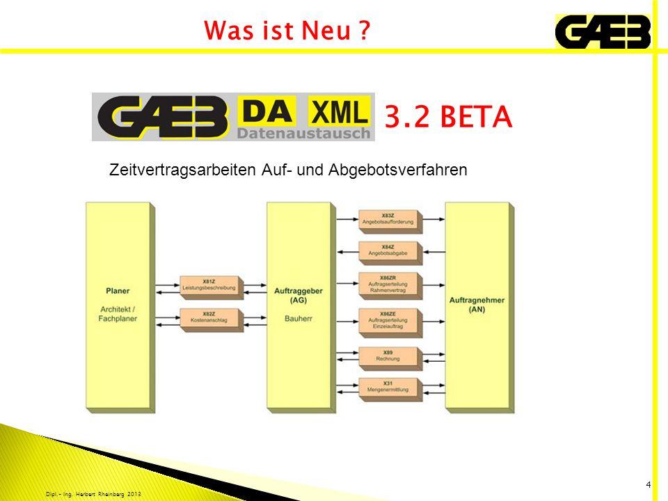 Dipl.- Ing. Herbert Rheinberg 2013 4 3.2 BETA Was ist Neu ? Zeitvertragsarbeiten Auf- und Abgebotsverfahren