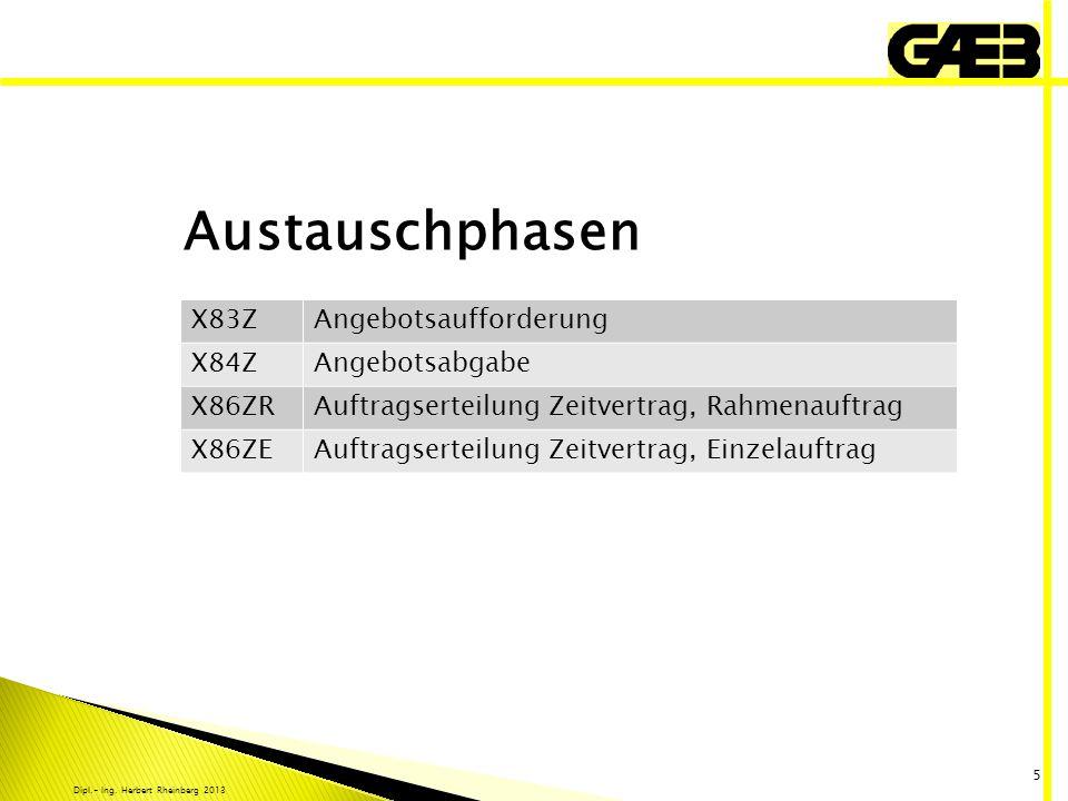 Dipl.- Ing. Herbert Rheinberg 2013 5 X83ZAngebotsaufforderung X84ZAngebotsabgabe X86ZRAuftragserteilung Zeitvertrag, Rahmenauftrag X86ZEAuftragserteil