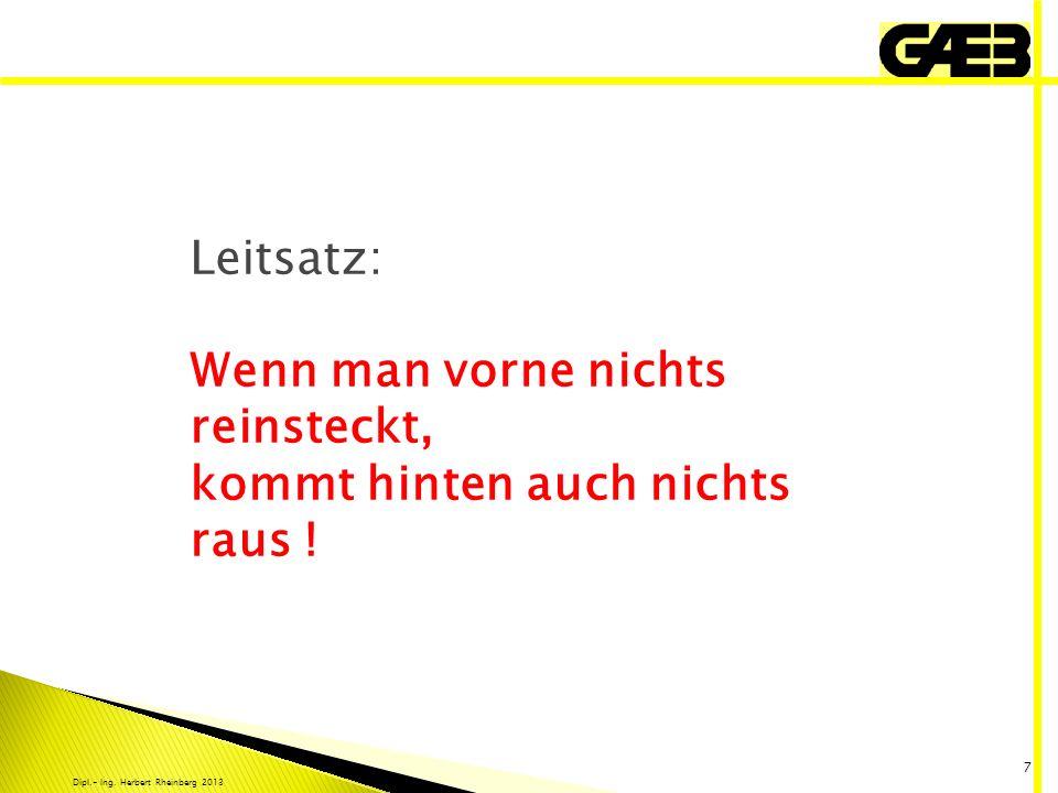 Dipl.- Ing. Herbert Rheinberg 2013 7 Leitsatz: Wenn man vorne nichts reinsteckt, kommt hinten auch nichts raus !