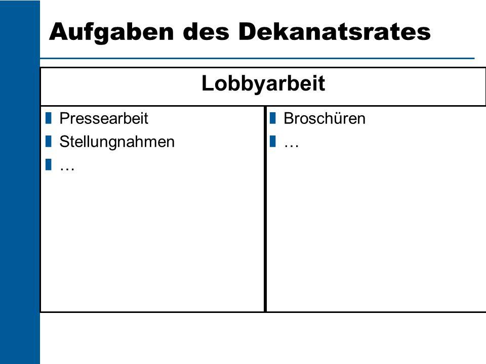 Aufgaben des Dekanatsrates Lobbyarbeit Pressearbeit Stellungnahmen … Broschüren …
