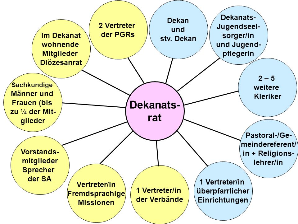 Dekanats- rat 2 – 5 weitere Kleriker Dekanats- Jugendseel- sorger/in und Jugend- pflegerin Dekan und stv. Dekan 1 Vertreter/in überpfarrlicher Einrich
