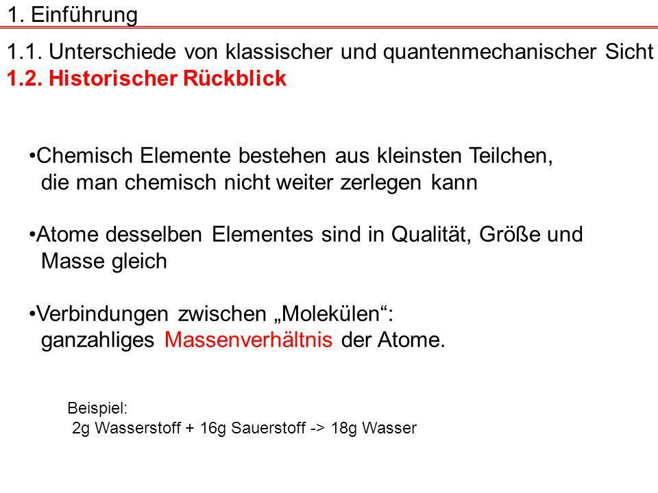 1.1.Unterschiede von klassischer und quantenmechanischer Sicht 1.2.