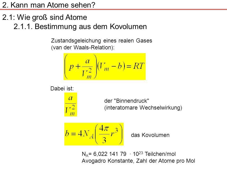 2.1: Wie groß sind Atome 2.1.1.Bestimmung aus dem Kovolumen 2.