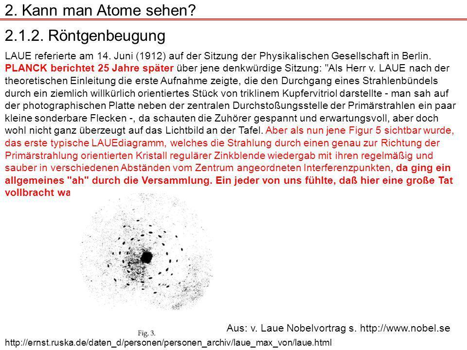 2.1.2.Röntgenbeugung 2. Kann man Atome sehen. LAUE referierte am 14.