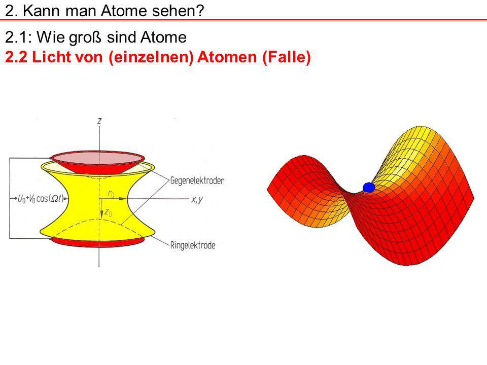 2.1: Wie groß sind Atome 2.2 Licht von (einzelnen) Atomen (Falle) 2. Kann man Atome sehen?