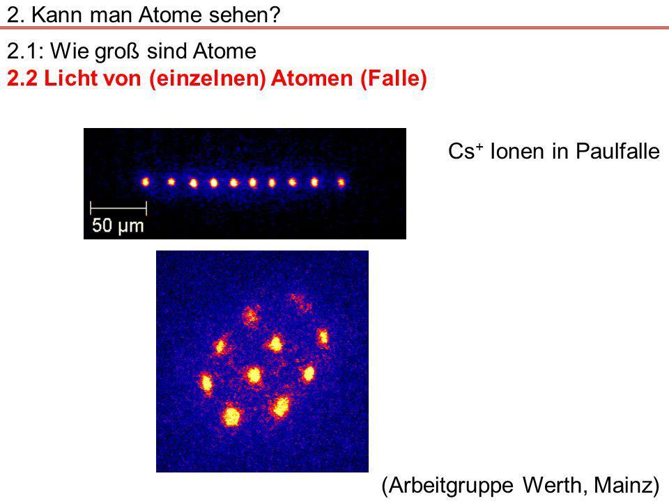 2.1: Wie groß sind Atome 2.2 Licht von (einzelnen) Atomen (Falle) 2.