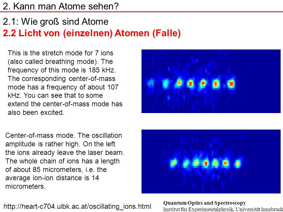 2.1: Wie groß sind Atome 2.2 Licht von (einzelnen) Atomen (Falle) 2. Kann man Atome sehen? This is the stretch mode for 7 ions (also called breathing