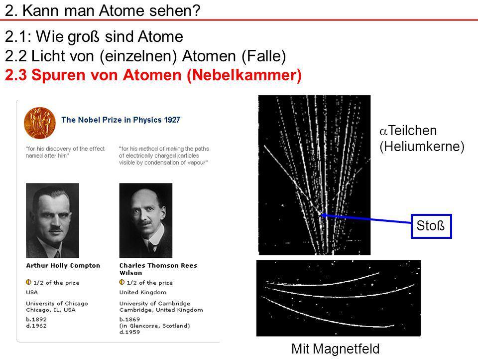 2.1: Wie groß sind Atome 2.2 Licht von (einzelnen) Atomen (Falle) 2.3 Spuren von Atomen (Nebelkammer) 2.