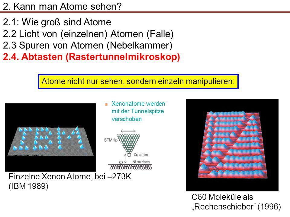 2.1: Wie groß sind Atome 2.2 Licht von (einzelnen) Atomen (Falle) 2.3 Spuren von Atomen (Nebelkammer) 2.4.