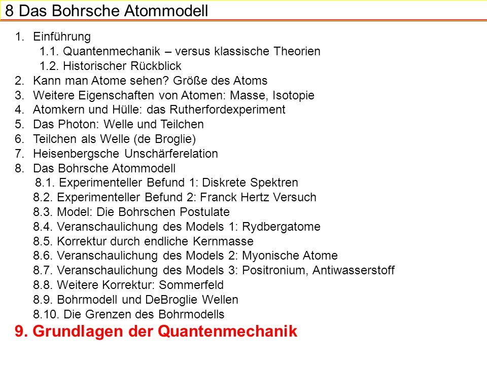 8 Das Bohrsche Atommodell 1.Einführung 1.1.Quantenmechanik – versus klassische Theorien 1.2.