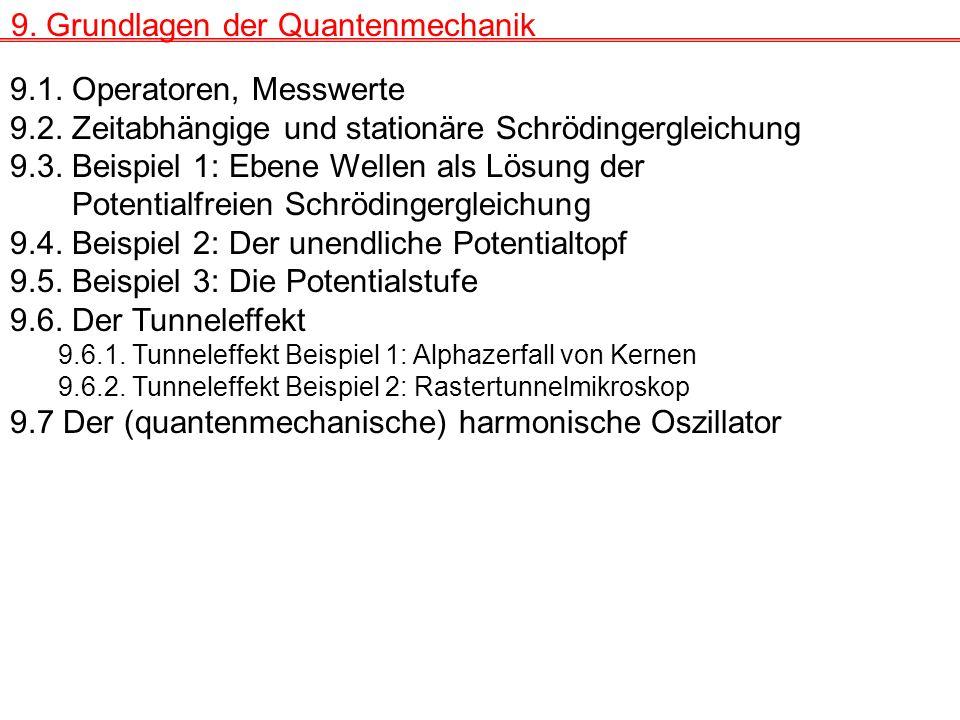 9.1.Operatoren, Messwerte 9.2. Zeitabhängige und stationäre Schrödingergleichung 9.3.