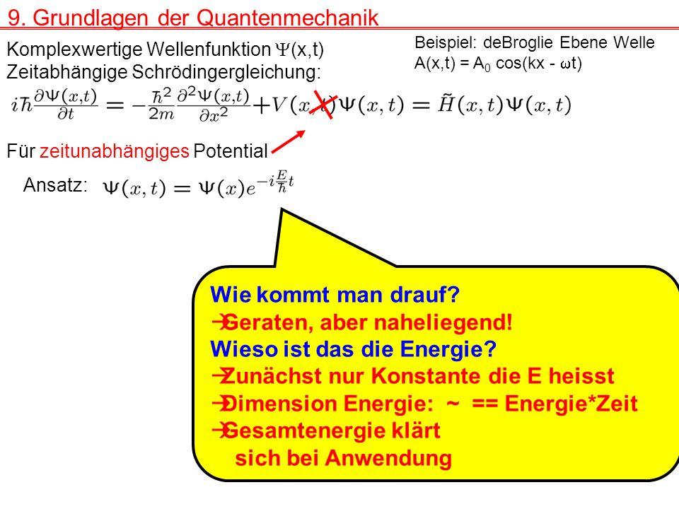 Zeitabhängige Schrödingergleichung: Komplexwertige Wellenfunktion (x,t) Beispiel: deBroglie Ebene Welle A(x,t) = A 0 cos(kx - t) Ansatz: Für zeitunabhängiges Potential Wie kommt man drauf.