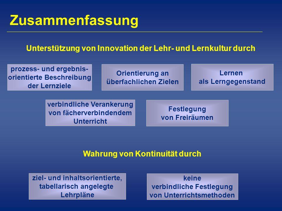 Zusammenfassung Wahrung von Kontinuität durch Unterstützung von Innovation der Lehr- und Lernkultur durch prozess- und ergebnis- orientierte Beschreib