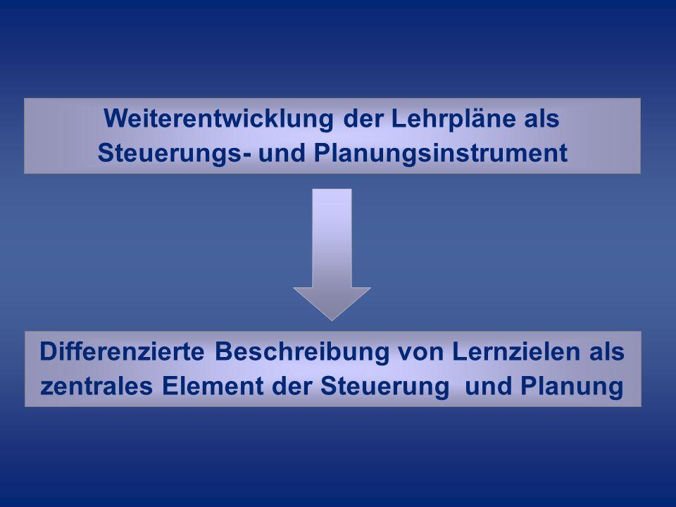 Weiterentwicklung der Lehrpläne als Steuerungs- und Planungsinstrument Differenzierte Beschreibung von Lernzielen als zentrales Element der Steuerung