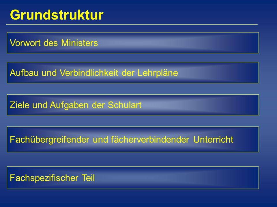 Grundstruktur Vorwort des Ministers Aufbau und Verbindlichkeit der Lehrpläne Ziele und Aufgaben der Schulart Fachübergreifender und fächerverbindender