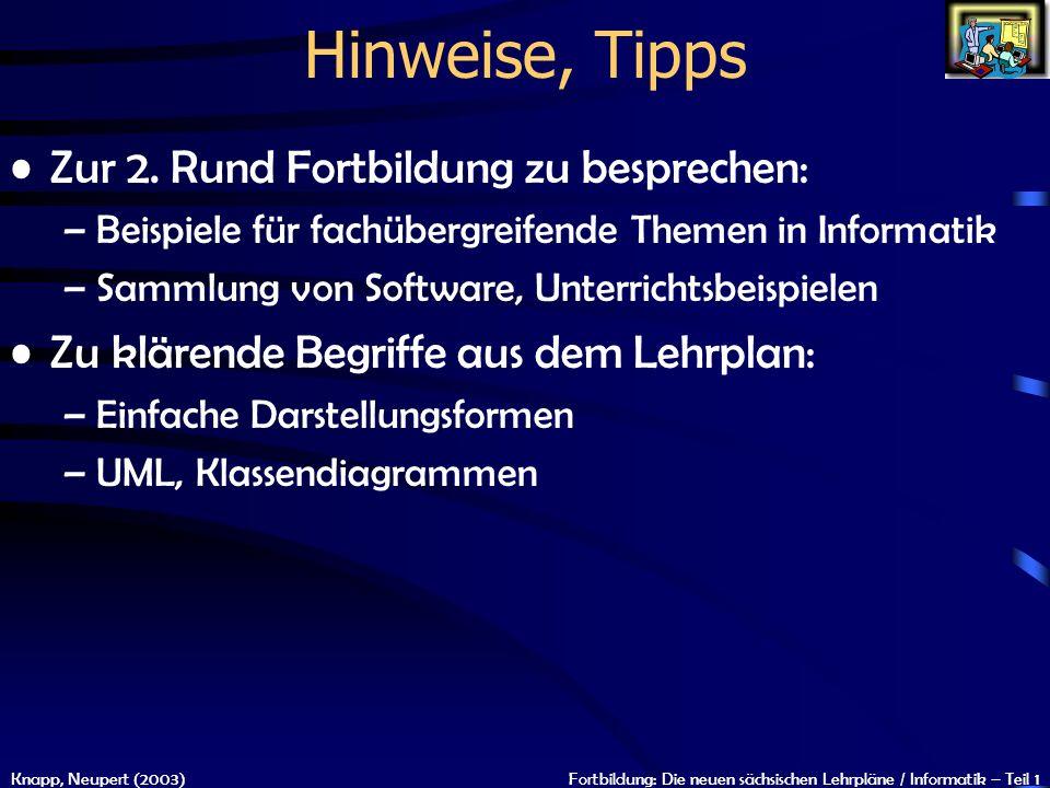 Knapp, Neupert (2003)Fortbildung: Die neuen sächsischen Lehrpläne / Informatik – Teil 1 Hinweise, Tipps Zur 2. Rund Fortbildung zu besprechen: –Beispi