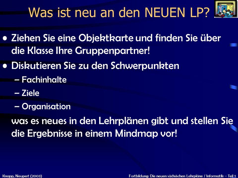 Knapp, Neupert (2003)Fortbildung: Die neuen sächsischen Lehrpläne / Informatik – Teil 1 Was ist neu an den NEUEN LP? Ziehen Sie eine Objektkarte und f