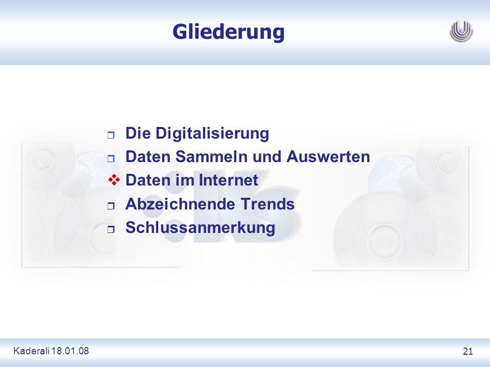 Kaderali 18.01.0821 Gliederung Die Digitalisierung Daten Sammeln und Auswerten Daten im Internet r Abzeichnende Trends r Schlussanmerkung