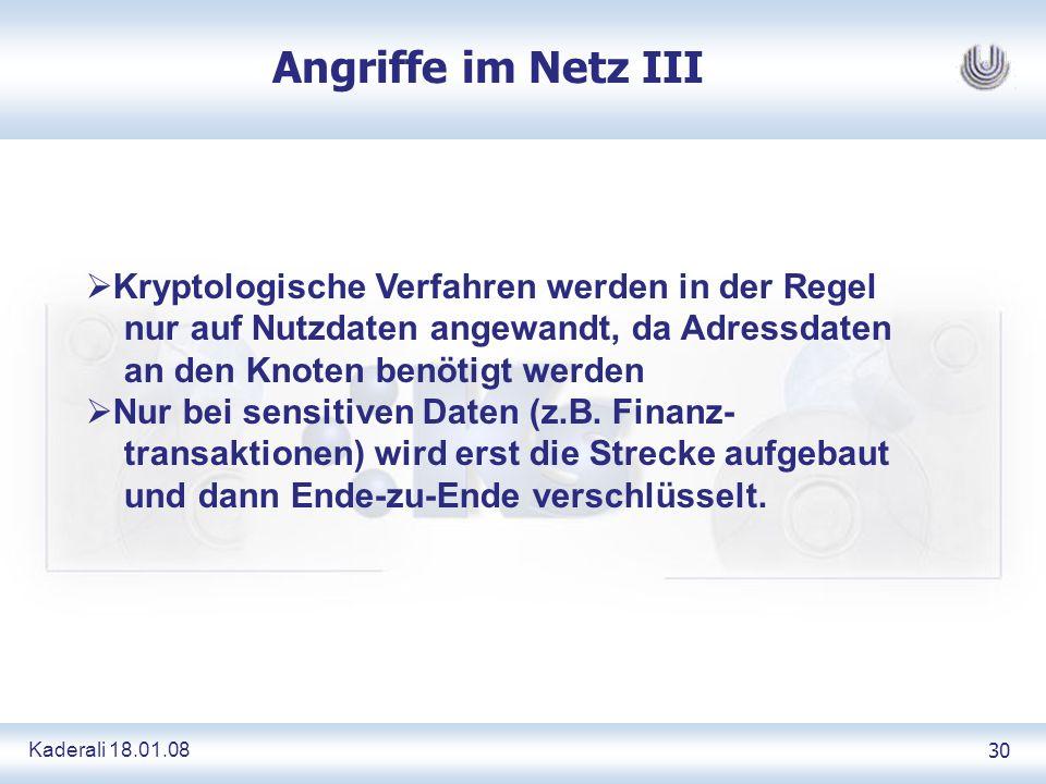 Kaderali 18.01.0830 Angriffe im Netz III Kryptologische Verfahren werden in der Regel nur auf Nutzdaten angewandt, da Adressdaten an den Knoten benötigt werden Nur bei sensitiven Daten (z.B.