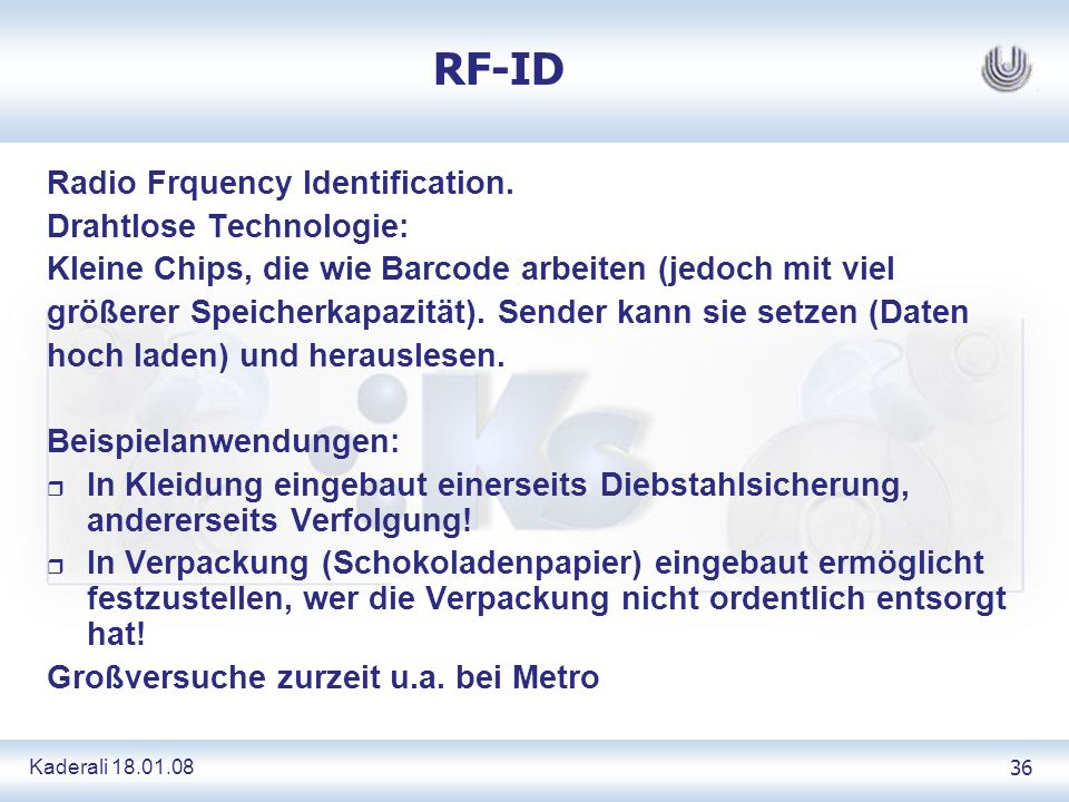 Kaderali 18.01.0836 RF-ID Radio Frquency Identification.