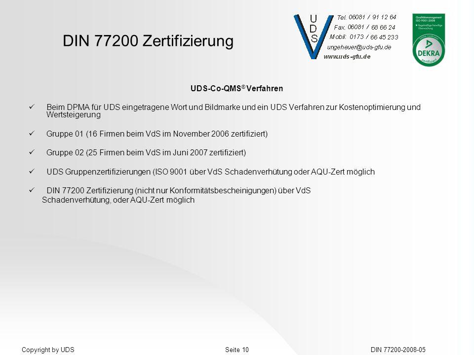 DIN 77200 Zertifizierung DIN 77200-2008-05Seite 10Copyright by UDS UDS-Co-QMS ® Verfahren Beim DPMA für UDS eingetragene Wort und Bildmarke und ein UD
